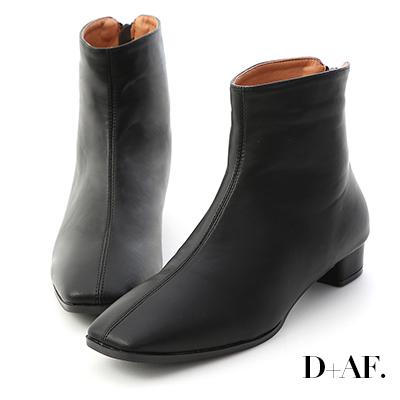 D+AF 簡約率性.後拉鍊方頭小低跟短靴*黑