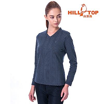 【hilltop山頂鳥】女款保暖緹花刷毛上衣H51FH9黑灰