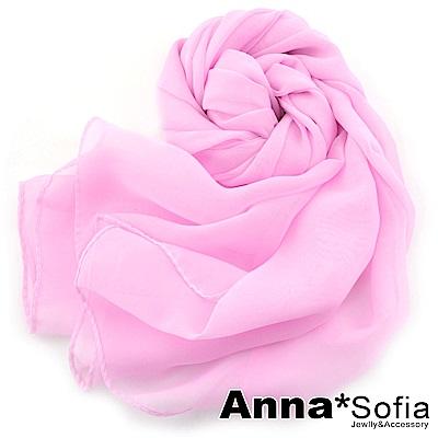 AnnaSofia 素面單色 雪紡圍巾長絲巾(芭比粉系)