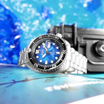 SEIKO 精工 魟魚 PROSPEX 潛水錶 機械錶 日期 不鏽鋼手錶-藍色/45mm