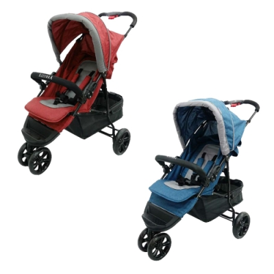 AZZURRA City 三輪推車(附贈推車涼蓆與防風遮雨罩)-藍/紅