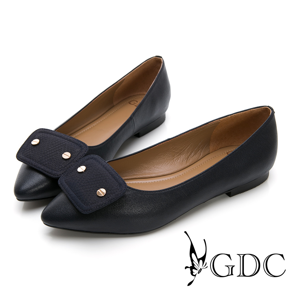 GDC-真皮時尚質感素色上班尖頭平底鞋-藍色