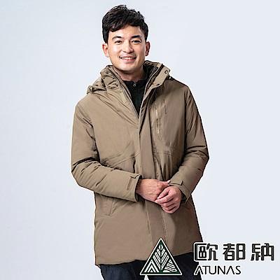 【ATUNAS 歐都納】男款中長版單件式科技纖維外套(A1-G1839M深卡其)