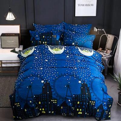 A-ONE 磨毛H系列-雪紡棉磨毛加工處理-加大床包兩用被組-月夜之城