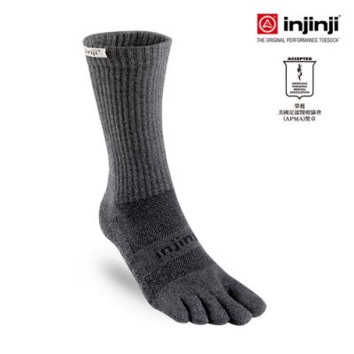 【INJINJI】TRAIL野跑避震吸排五趾中筒襪 [黑色]