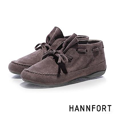 HANNFORT RIPPLE荷葉領結麂皮短靴-女-冷棕灰