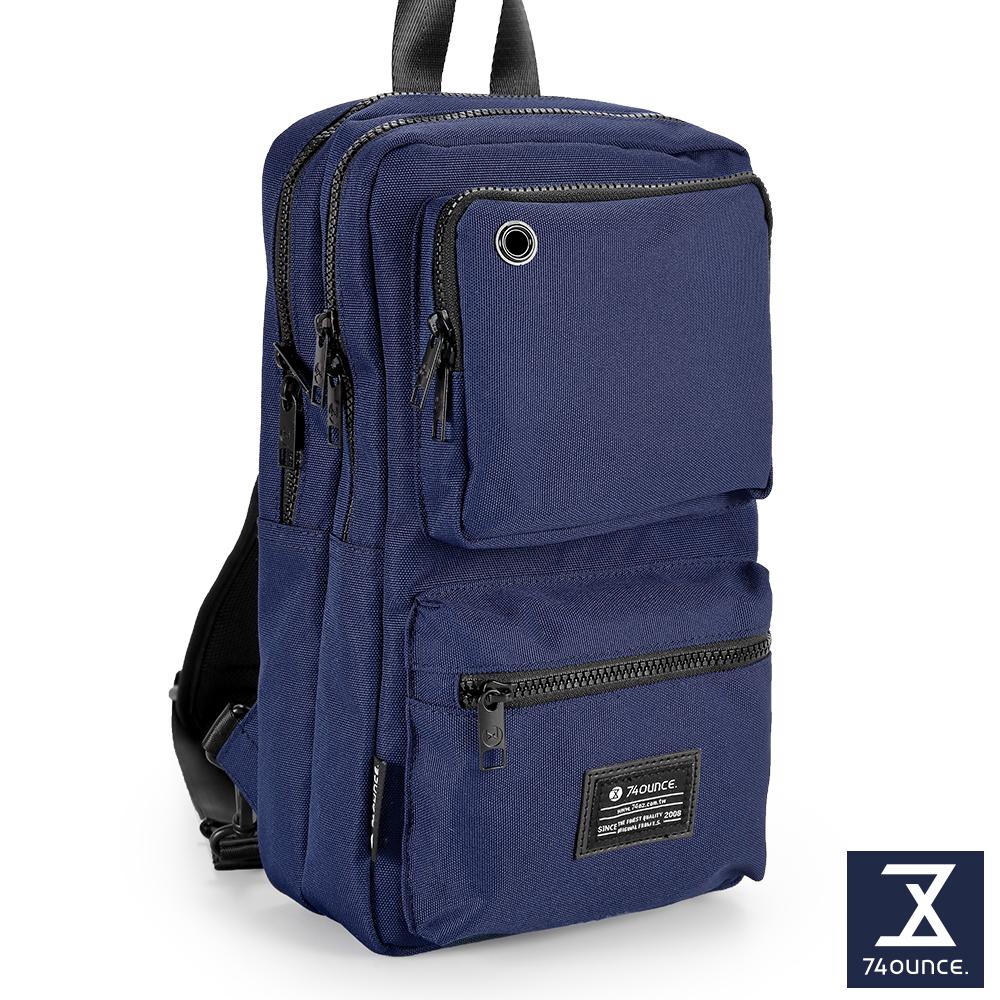 74盎司 Life 雙口袋設計尼龍胸包[G-1031-LI-M]藍