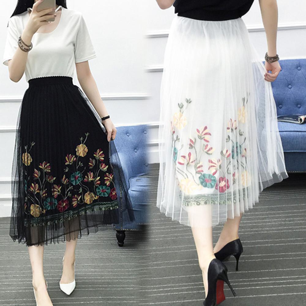 【韓國K.W.】奢華繡花薄紗裙-2色