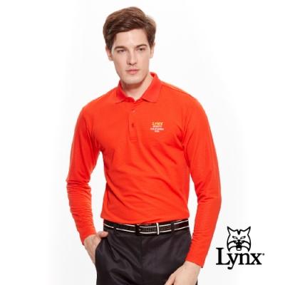 【Lynx Golf】男款遠紅外線保暖左胸LOGO長袖POLO衫-紅色
