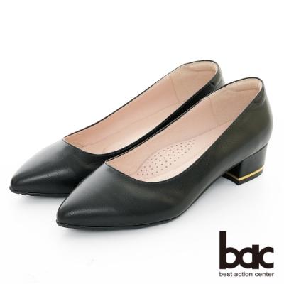 【bac】歐美簡約 - 素雅尖頭金屬配色粗跟高跟鞋-黑