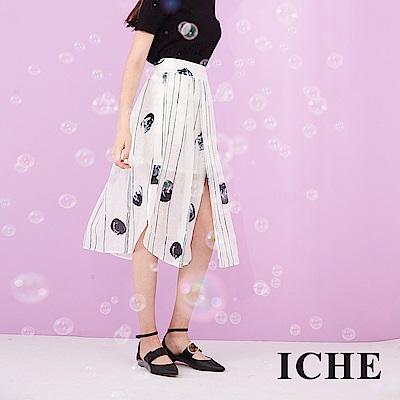 ICHE 衣哲 輕時尚100%麻料滿版印花開岔設計造型中長裙-藍