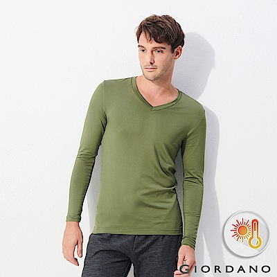 GIORDANO 男裝Beau-warmer plus 彈力V領極暖衣-51 綠色