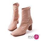 mo.oh粗跟麂皮絨方頭拉鏈短靴-粉色