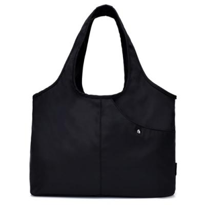 I.Dear-休閒男女大容量牛津布斜紋可水洗百搭購物肩背包(BG76黑色)