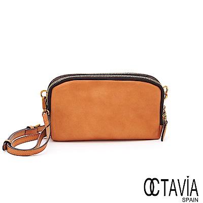 OCTAVIA  8 真皮 - 雙層餅乾 皮夾式羊皮手拿斜背二用包 - 奶酪黃