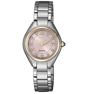 CITIZEN星辰 LADY S施華洛世奇光動能時尚腕錶-銀(EW2546-87X)