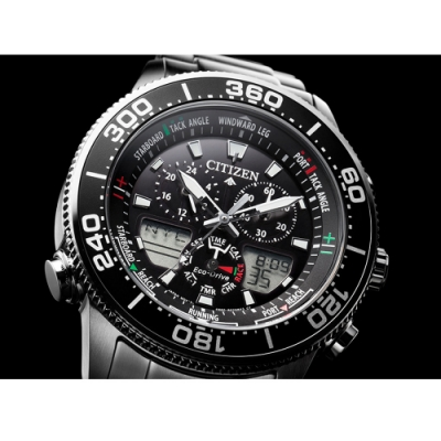 CITIZEN PROMASTER限量光動能雙顯腕錶(JR4060-88E)44mm