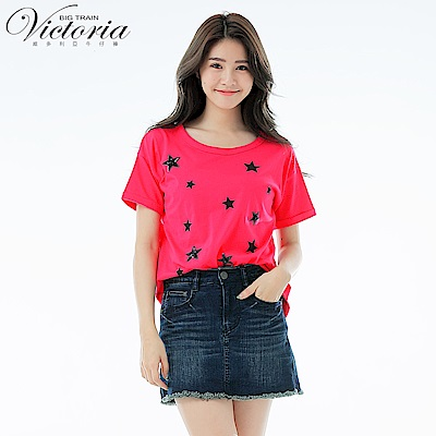 Victoria 星星印亮片繡寬鬆短袖T-女-深桃紅