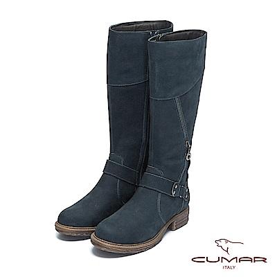 【CUMAR】率性柔美-中性風異材質拼接拉鍊裝飾長靴