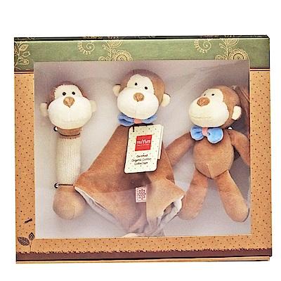 美國miYim有機棉 安撫玩具禮盒(經典3件組)-布布小猴