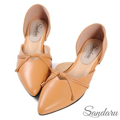 山打努SANDARU-尖頭鞋 日系綁結側簍空低跟鞋-淺棕