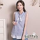 betty's貝蒂思 小立領格紋雪紡拼接假兩件背心(深藍)