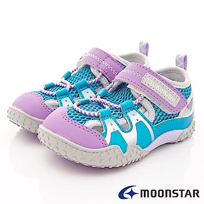 日本月星頂級童鞋 2E護趾輕量涼鞋款 19AB5紫(中小童段)