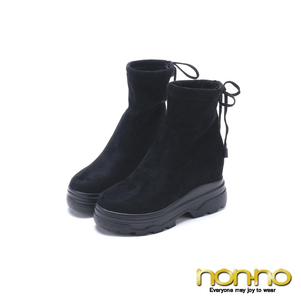nonno 諾諾 俏麗可愛綁帶短靴 黑