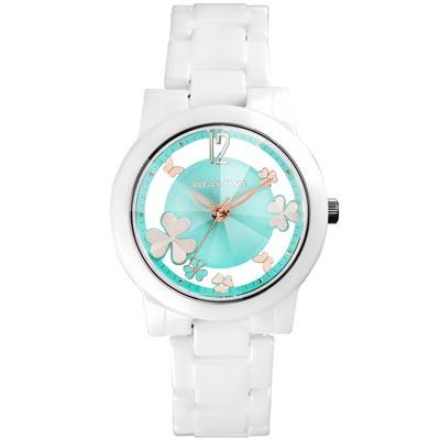 RELAX TIME Garden系列 鏤空陶瓷腕錶 RT-80-7 白X湖水綠/38mm