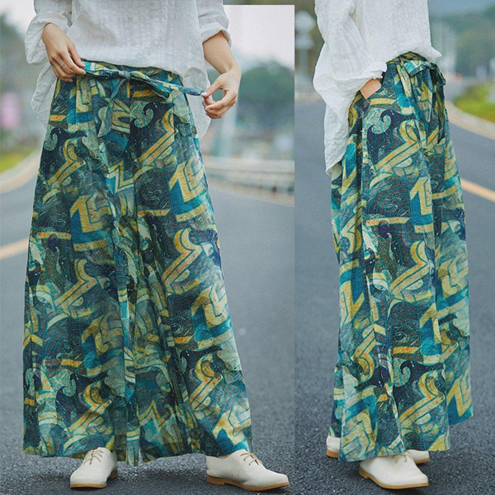 輕薄苧麻印花寬管垂墜寬鬆棉麻休閒褲-設計所在