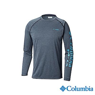 Columbia哥倫比亞男款-UPF50快排長袖上衣-深藍 UFO10900NY