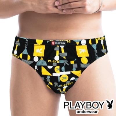 男內褲 MIT製 PLAYBOY 精梳棉印花三角褲 -單件(黃格兔)