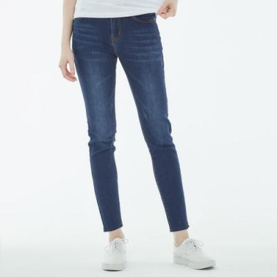 101原創 時尚不收邊彈性牛仔褲-深藍-女