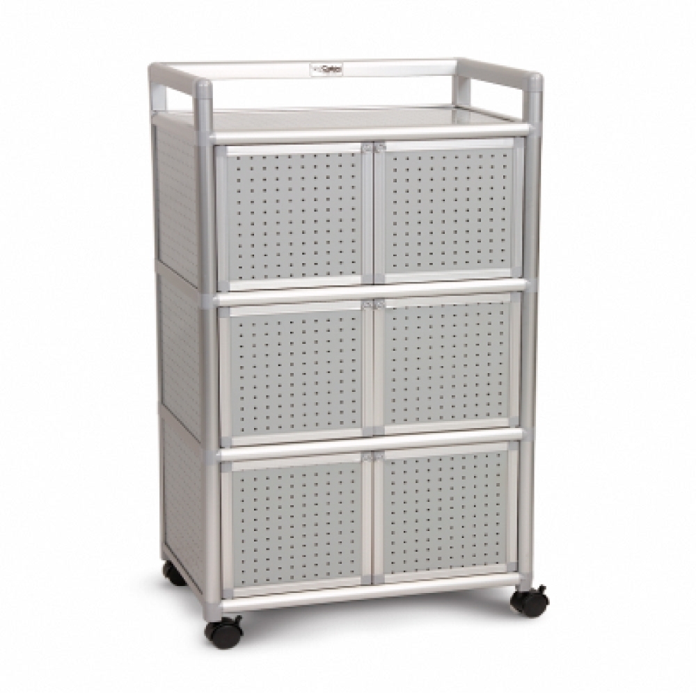 Cabini小飛象-黑花格2.0尺鋁合金6門收納櫃64.7x50.8x115.3cm