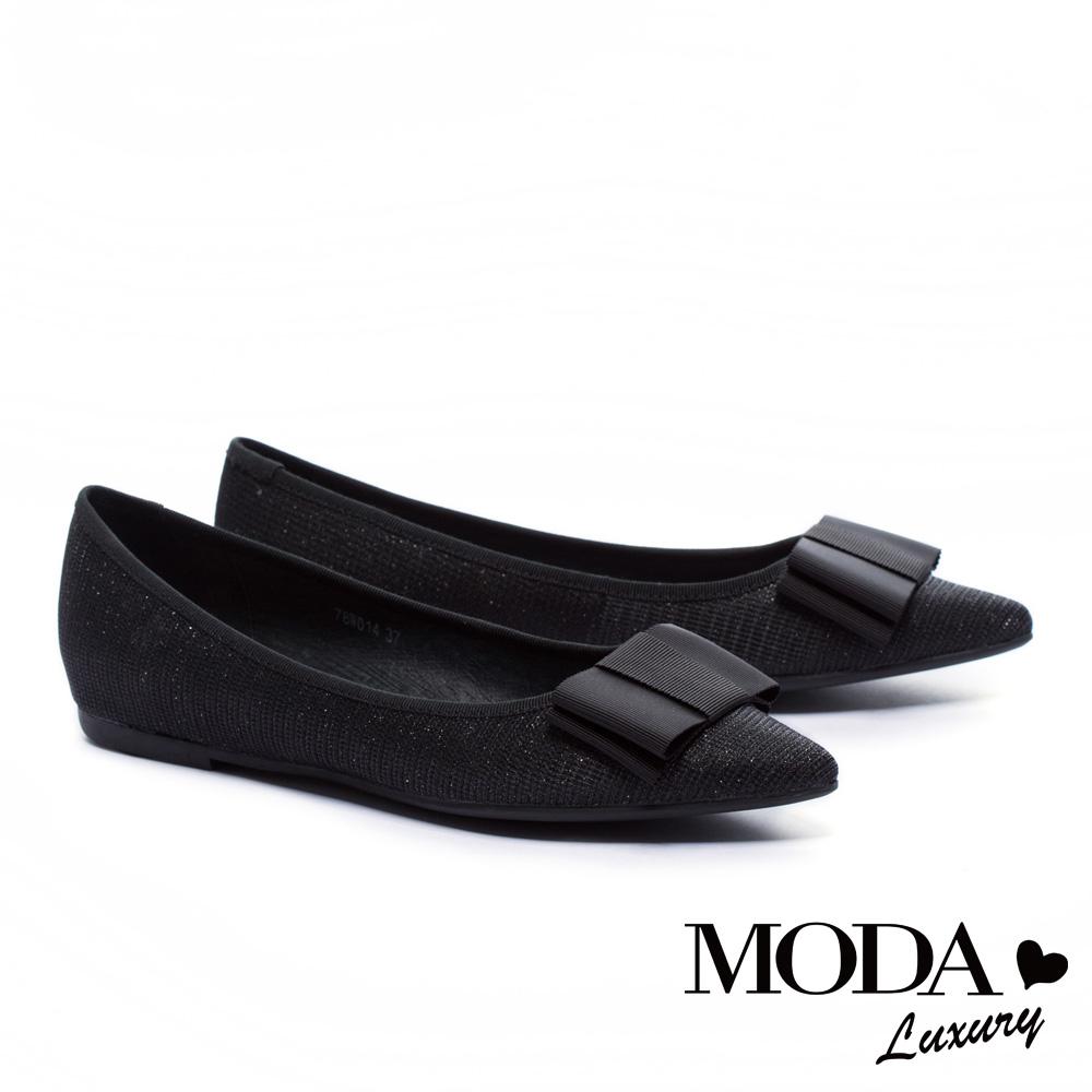 平底鞋MODA Luxury 氣質典雅蝴蝶結設計尖頭平底鞋-黑