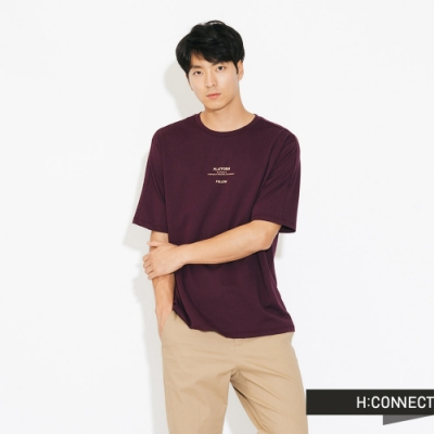 H:CONNECT 韓國品牌 男裝-簡約膠印標語T-shirt-紫