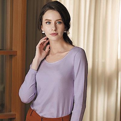 華歌爾-極衣恆溫M-LL 厚刷圓領保暖衣(極光紫)保暖柔暖-吸水速乾