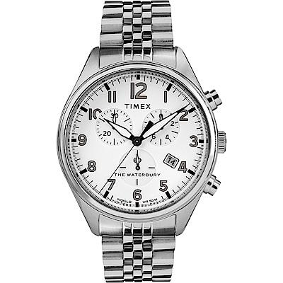 TIMEX 天美時 Waterbury Chrono系列 計時經典手錶-銀/42mm