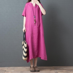 古典亞麻純色風雅洋裝M-2XL(共三色)Keer