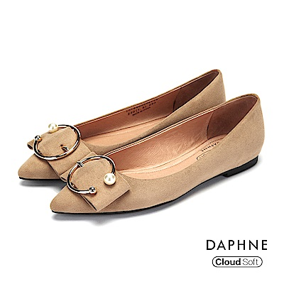 達芙妮DAPHNE 平底鞋-珠飾金屬環釦低跟平底鞋-杏