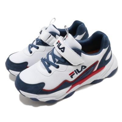 Fila 慢跑鞋 J805U 運動 童鞋 輕量 透氣 舒適 避震 魔鬼氈 中大童 白 藍 3J805U123