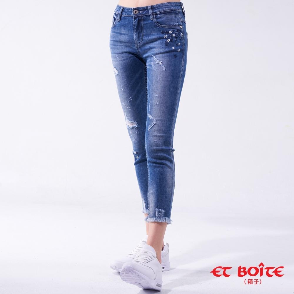 ET BOITE 箱子 BLUE WAY-花卉刷破八分窄直褲
