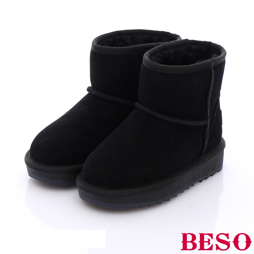 BESO 潮人街頭風 絨面真皮素面兒童雪靴~黑