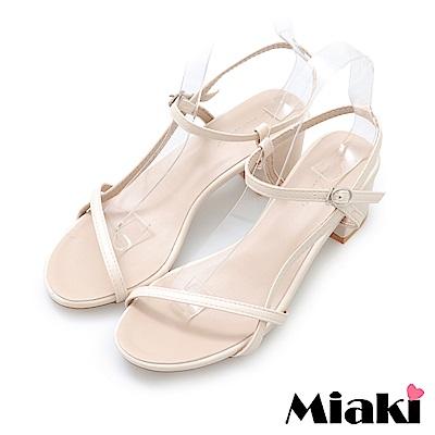Miaki-涼鞋韓妞嚴選細帶高跟鞋-米