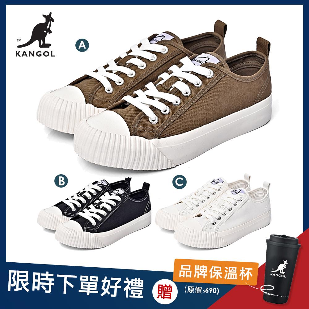 [時時樂限定]KANGOL韓版設計款厚底餅乾鞋-女-三款任選 送保溫杯