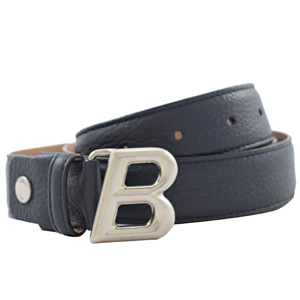 BALLY 經典B LOGO牛皮皮帶(深藍/100cm)