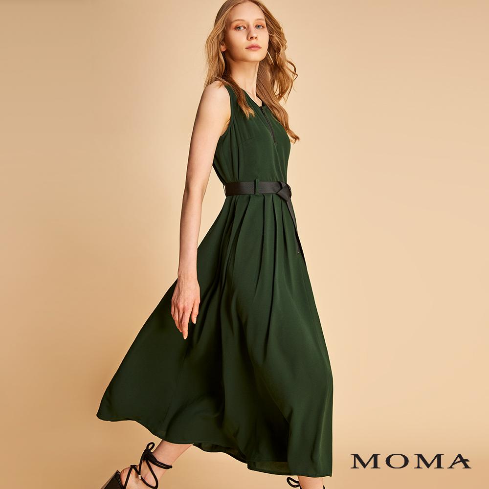 MOMA 拉鍊腰帶雪紡洋裝