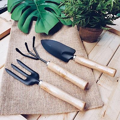 【Meric Garden】綠手指木把園藝工具三件組(鏟/叉/耙)