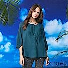【YIDIE衣蝶】純棉日系簡約蕾絲上衣-藍綠