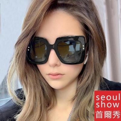 seoul show首爾秀 G牌古古風幾何大方框復古米釘太陽眼鏡UV400墨鏡 5187